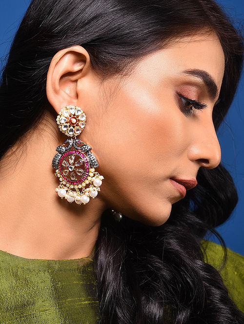 Pink Dual Tone Kundan Earrings with Pearls
