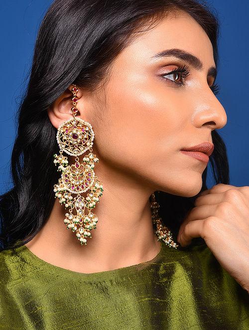 Pink Green Kundan Earrings with Pearls