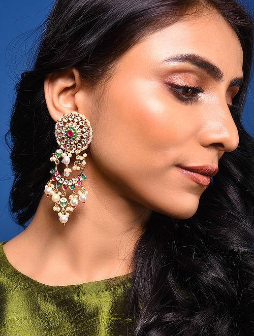 Pink Green Gold Tone Pearl Beaded Earrings
