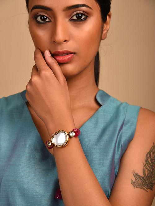 Pink Gold Tone Kundan Bracelet with Quartz