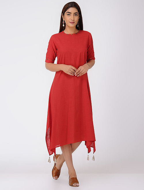 Red Asymmetrical Cotton Slub Dress with Beads and Tassels