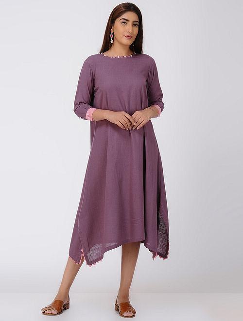 Purple Asymmetrical Cotton Slub Dress with Beads and Tassels