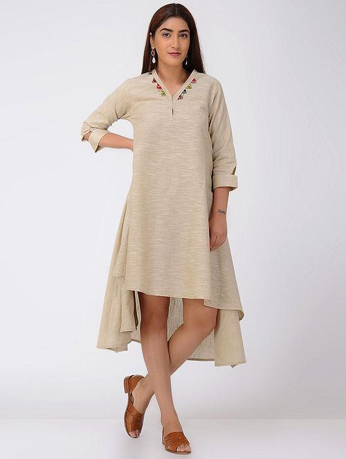 Beige Asymmetrical Cotton Slub Dress