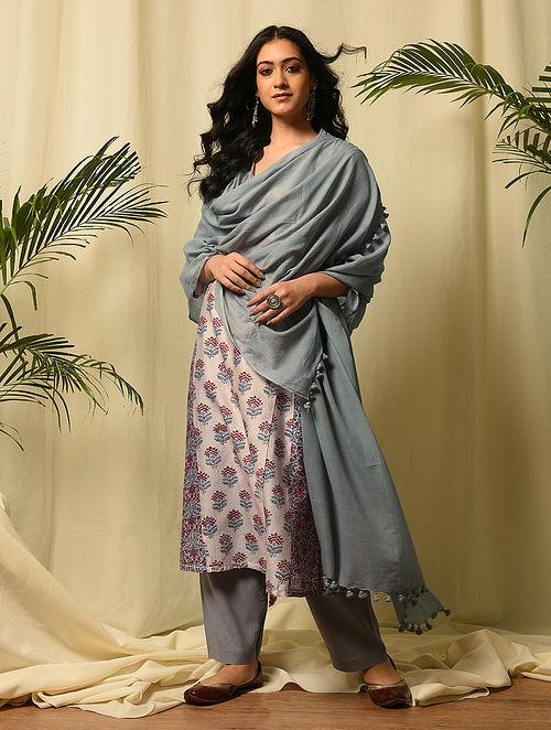 Grey Handloom Cotton Dupatta with Tassels