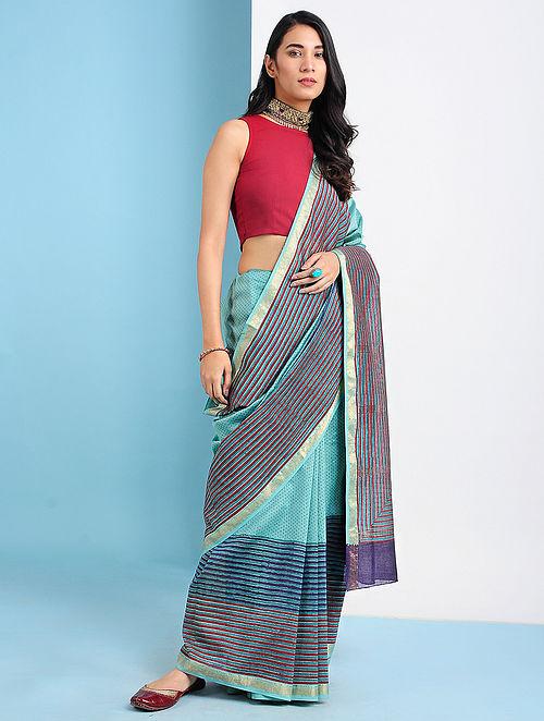 YANGIYER - Green-Pink Block Printed Silk Cotton Saree