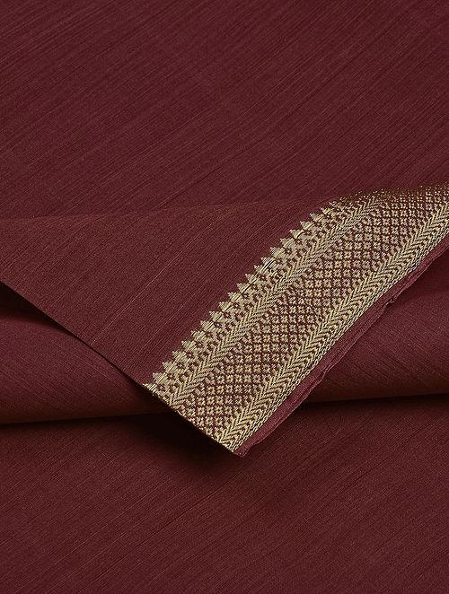 Maroon Cotton Fabric with Zari
