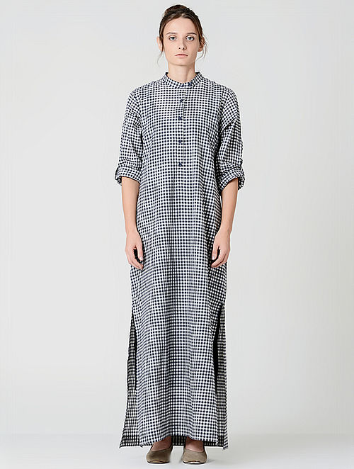 Buy Blue-White Checkered Handwoven Cotton Dress Online at ... f27631c70