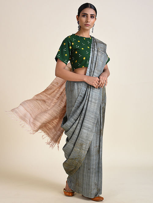 Grey-Peach Handwoven Ahimsa Silk Saree