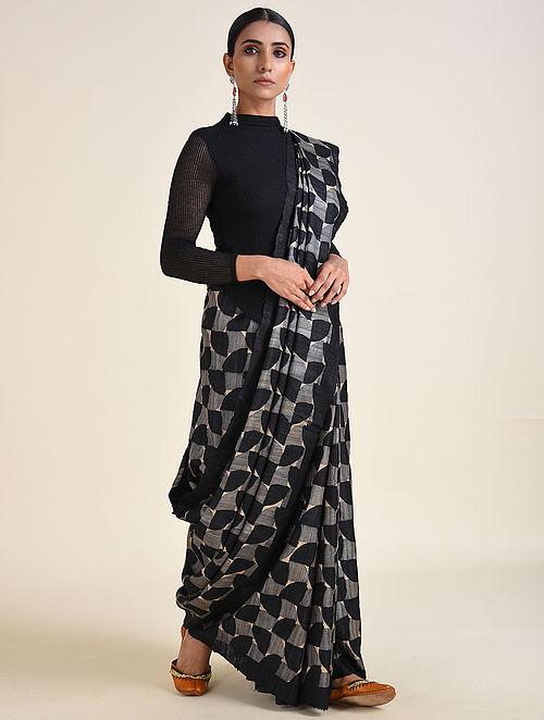 Black-Grey Handwoven Block Printed Ahimsa Silk Saree