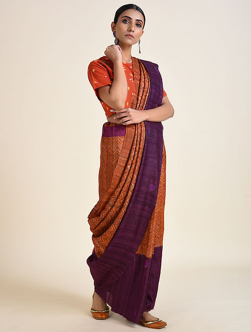 Orange-Purple Handwoven Ahimsa Silk Saree