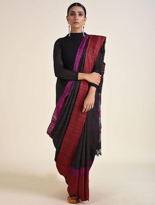 Black-Maroon Handwoven Ahimsa Silk Saree