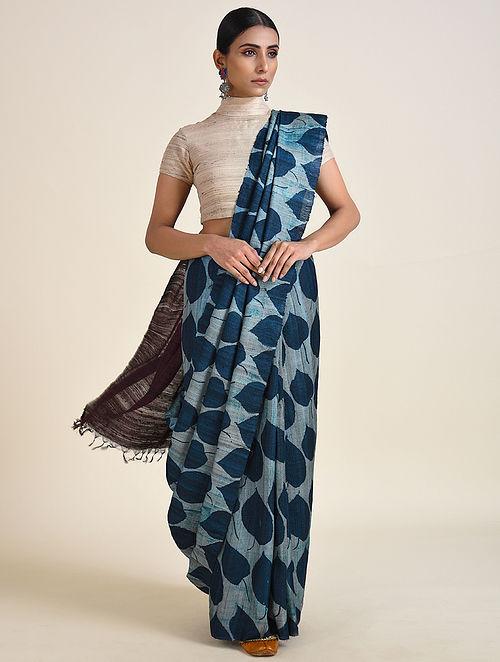 Blue Handwoven Ahimsa Silk Saree