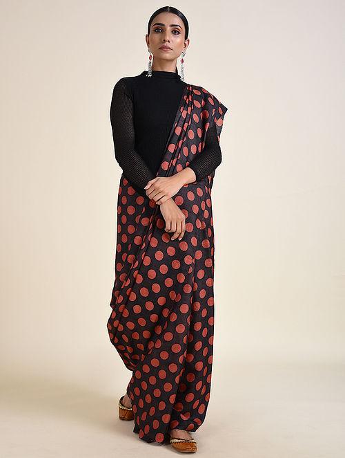 Black-Coral Handwoven Ahimsa Silk Saree