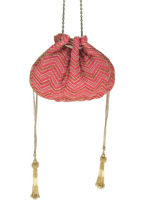 Pink Embroidered Potli