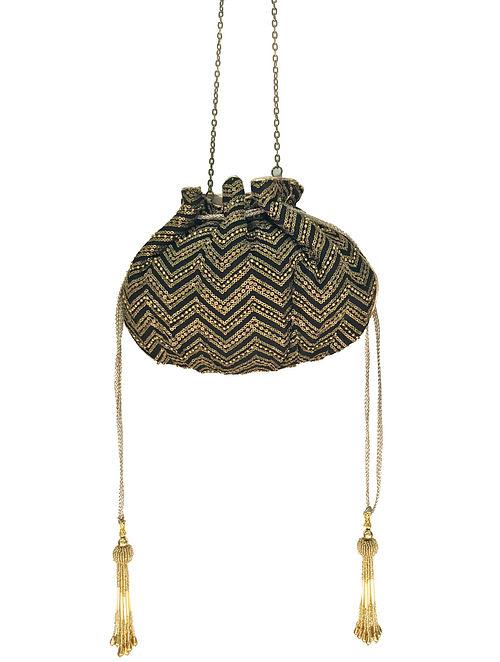 Black Embroidered Potli
