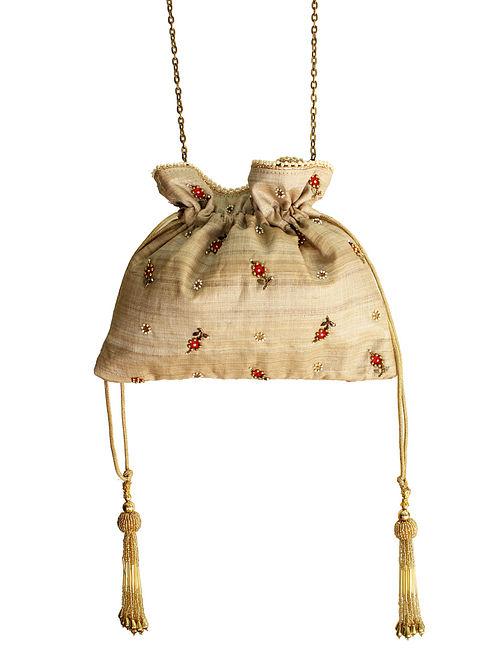 Beige Thread Embroidered Silk Potli