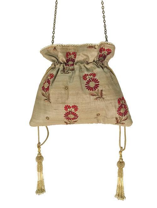 Beige-Red Thread Embroidered Silk Potli