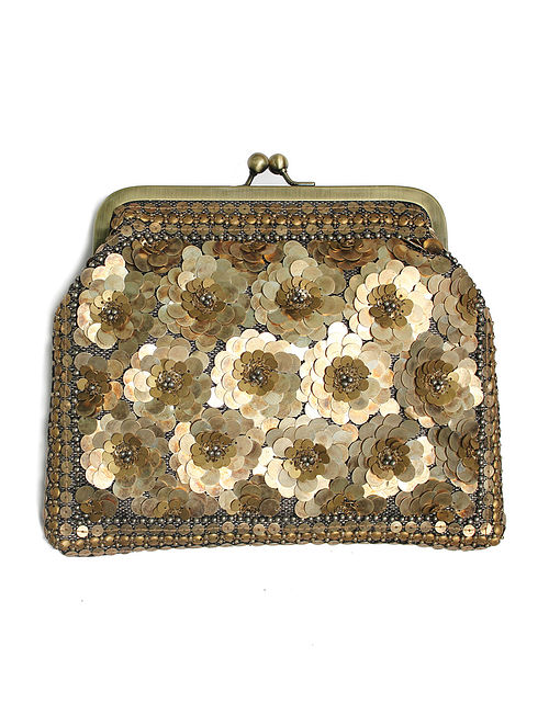 Gold Silver Handcrafted Embroidered Clutch with Beads