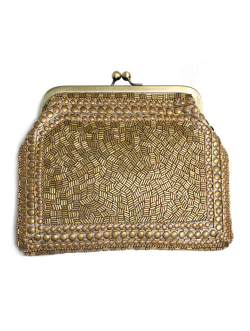 Gold Handcrafted Embroidered Clutch with Beads
