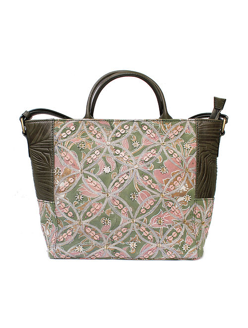 Olive Green Pink Handcrafted Canvas and Genuine Leather Tote Bag with Embellishments