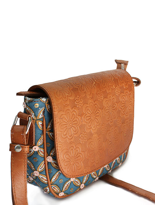 Blue Tan Handcrafted Canvas and Genuine Leather Sling Bag with Embellishments