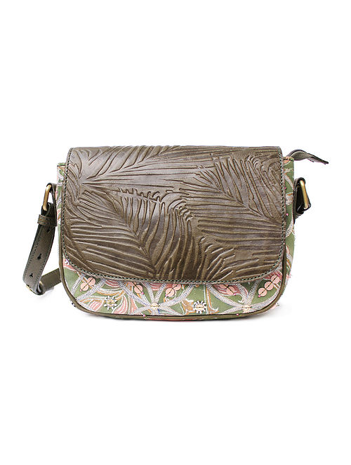 Olive Green Pink Handcrafted Canvas and Genuine Leather Sling Bag with Embellishments