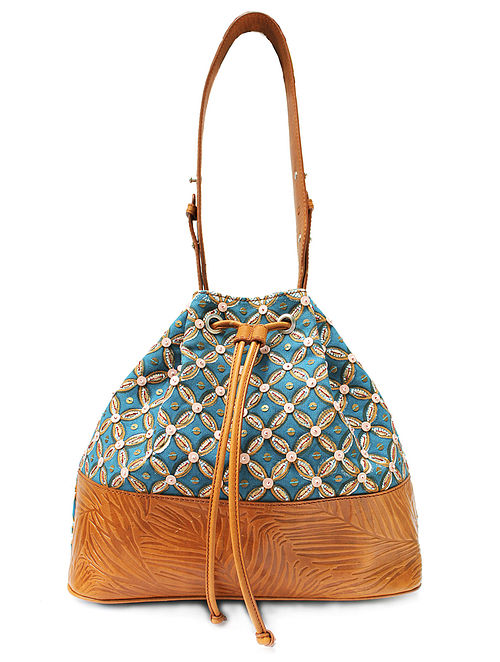 Blue Tan Handcrafted Canvas and Genuine Leather Bucket Bag with Embellishments