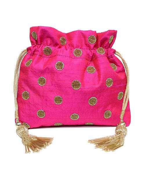 Pink Hand Embroidered Raw Silk Potli