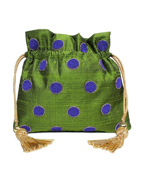 Green Hand Embroidered Raw Silk Potli