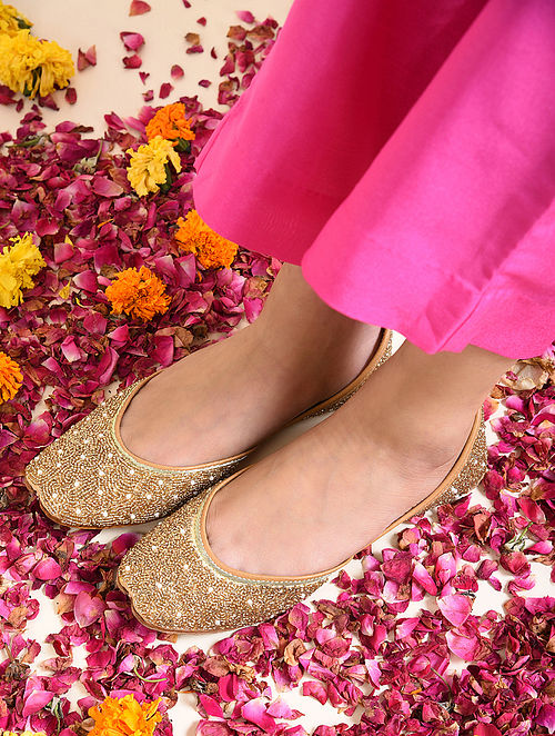 Gold Handcrafted Beaded Juttis with Cutdana