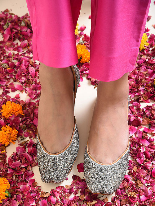 Silver Handcrafted Beaded Juttis with Cutdana