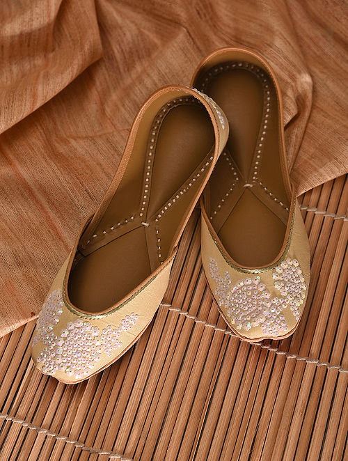 Dull Gold Sequined Leather Jutti