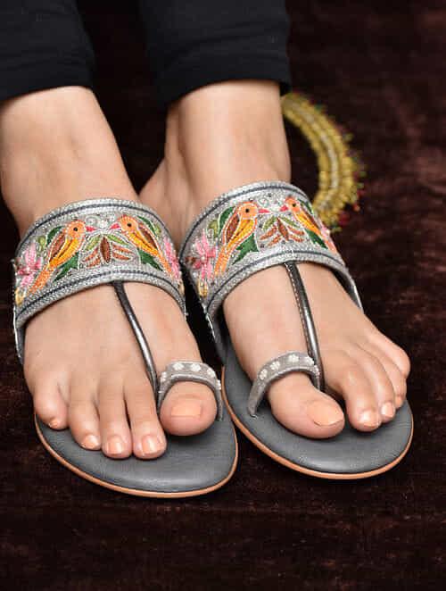 Grey-Multicolored Aari Embroidered Kolhapuri Flats