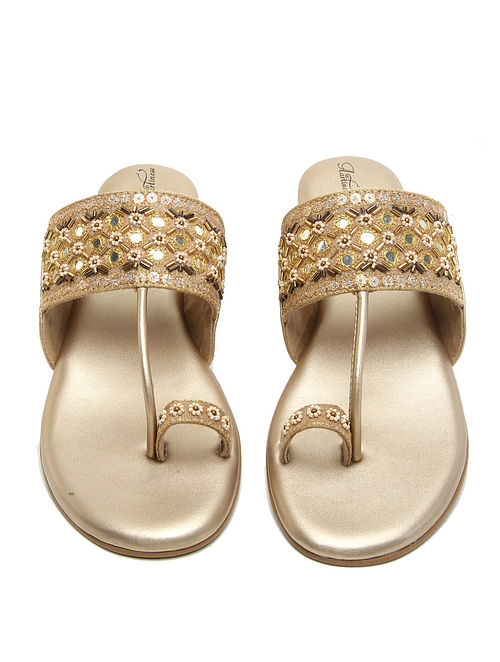 Yellow-Gold Hand Embroidered Kolhapuri Flats