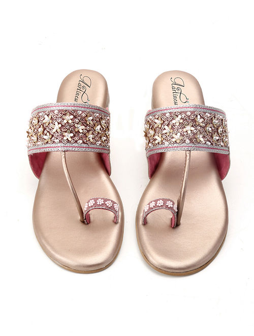 Rose Gold Hand Embroidered Kolhapuri Flats