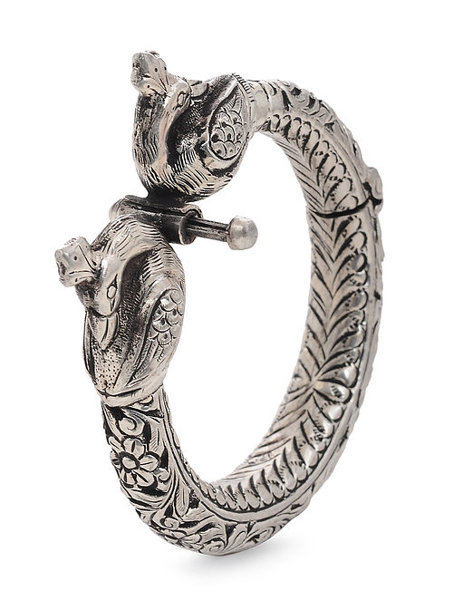 06392b62ed Hinged Opening Tribal Silver Bangle with Peacock Design (Bangle Size -2/4)  Cuffs/Bracelets/Bangles