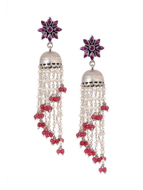 b0f1bb5df Buy Pink Tribal Silver Jhumkis with Pearls Online at Jaypore.com