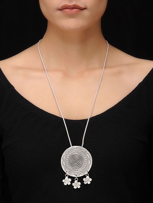 a9bae9d84c0fba Buy Classic Silver Necklace with Floral Design Online at Jaypore.com
