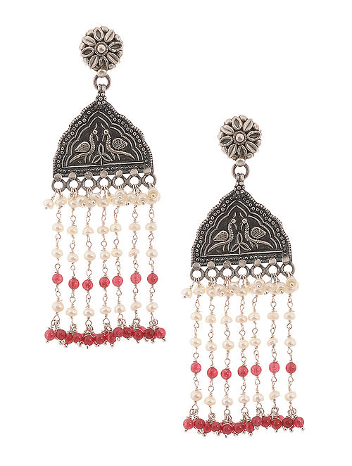c3185ef8b Buy Pink Tribal Silver Earrings with Pearls Online at Jaypore.com