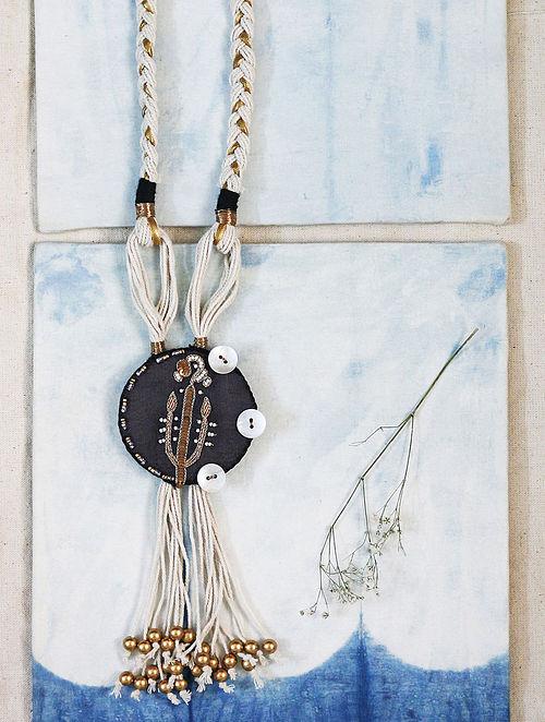 Black-White Gaji Silk Necklace