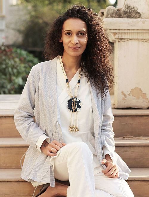 Royal Blue-White Gaji Silk Necklace
