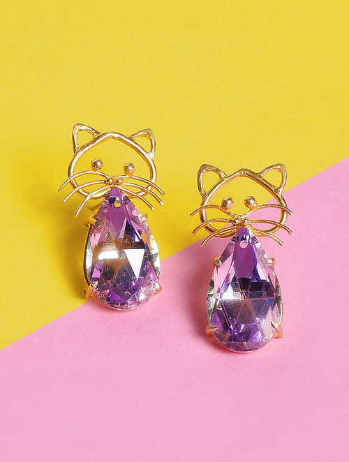 Pink Glass Stone Handcrafted Stud Earrings
