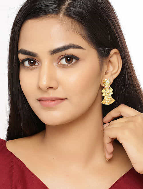 Gold Tone Handctafted Earrings