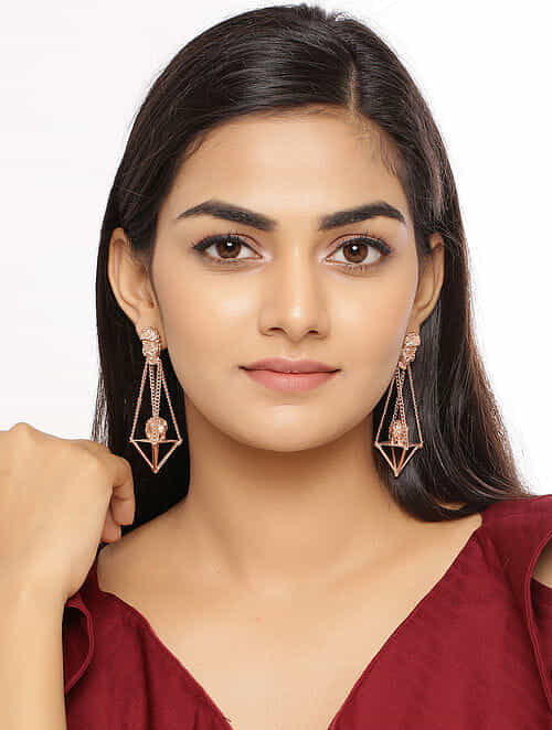 Gold Tone Handcrafted Earrings