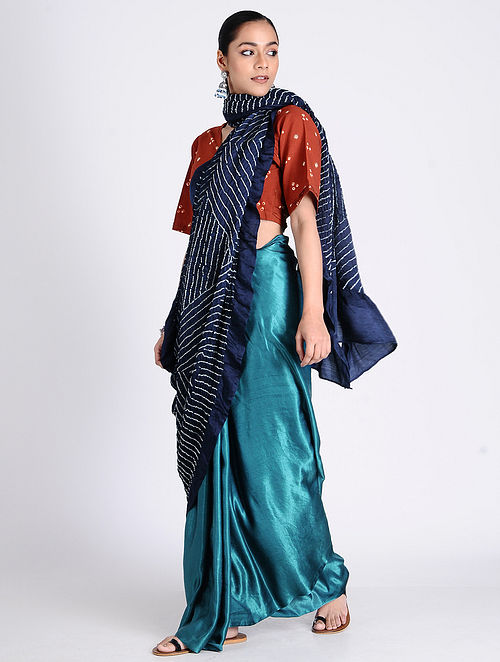 30dbfc0099 Buy Blue-Ivory Bandhani Gajji Satin Saree Online at Jaypore.com