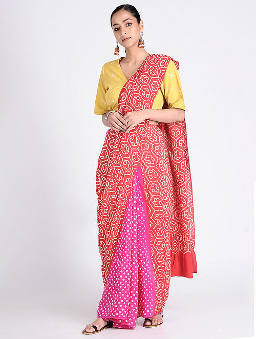 9fa518153d7 Buy Pink-Red Bandhani Crepe Silk Saree Online at Jaypore.com