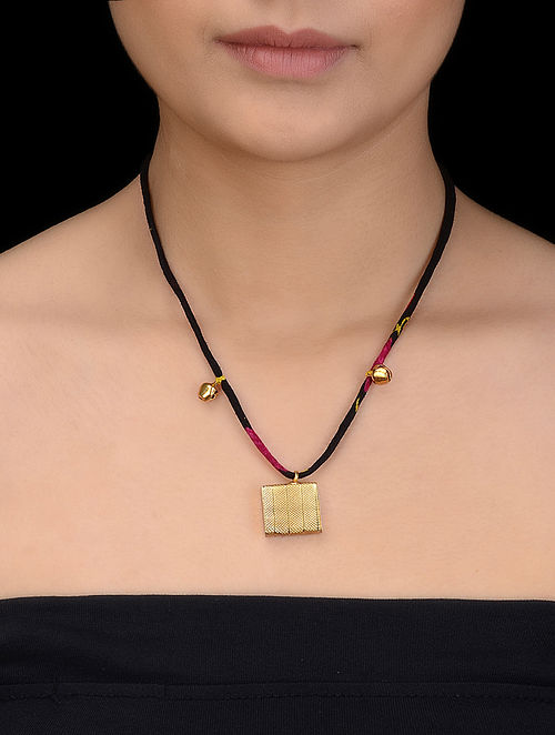 Black-Pink Thread Necklace with Gold-plated Silver Pendant