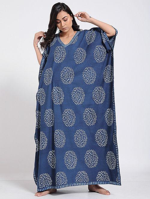 1eb851ad87d2 Buy Indigo-Ivory Block-printed Cotton Kaftan Online at Jaypore.com