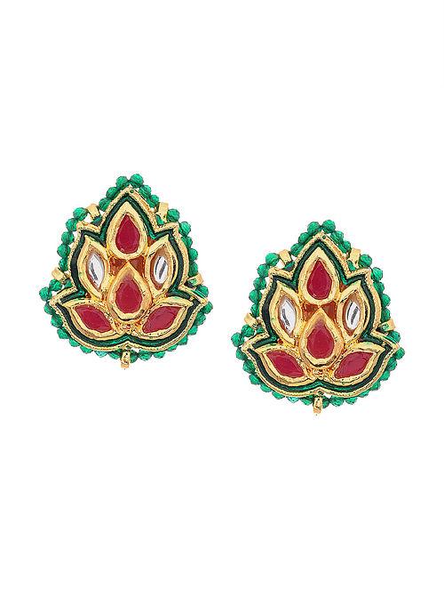 Red Green Gold Tone Kundan and Meenakari Earrings