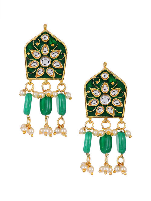 Green Gold Tone Kundan Enameled Earrings with Pearls
